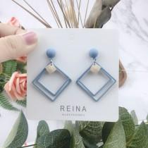 菱形造型霧面色系縷空耳環簡約幾何圖形耳釘氣質耳環