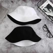 潮流百搭雙面戴漁夫帽遮陽防曬夏天必備盆帽黑白色棕梠樹圖
