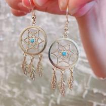 日韓系設計款浪漫捕夢網氣質耳環垂掛式飾品
