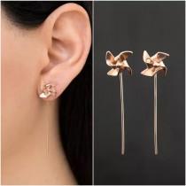 歐美風格帥氣個性簡約金屬色系風車造型小巧精緻耳環