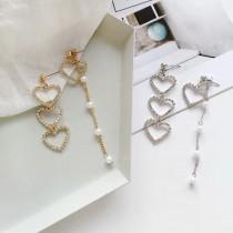 氣質縷空愛心質感白鑽長型白色珍珠耳環
