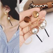 氣質圓形普普風日韓系耳環幾何圖形長形垂掛飾品