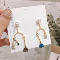 彩色鑽電玩小精靈珍珠貼耳卡通童趣可愛造型耳環