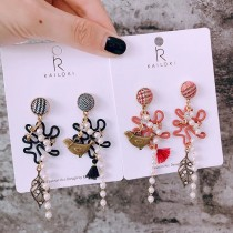 韓國精緻手作藝術復古格紋耳釘珍珠造型耳環