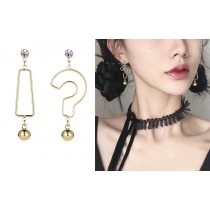 韓國不對稱符號耳環問號驚嘆號特色垂掛飾品