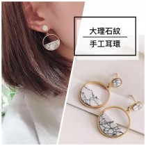 韓國圓形大理石紋幾何圖形金屬耳環氣質百搭造型飾品
