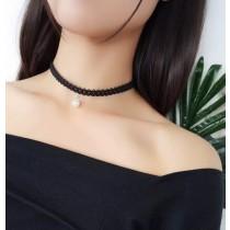 日系黑色蕾絲珍珠頸鍊時髦短項鍊百搭氣質性感小女人飾品