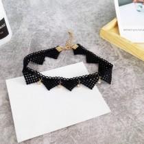 日系黑色蕾絲幾何圖形鑽鑽設計頸鍊造型短項鍊