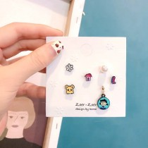 精緻可愛多組合式卡通貼耳耳環韓國造型耳針