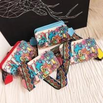 塗鴉漫畫圖硬殼側背包幾何線條彩色創意背袋肩背包手拿包