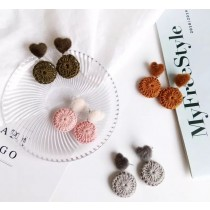 日韓系超可愛毛料愛心棉質手工圓形造型耳環