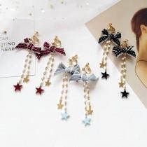長形緞帶蝴蝶結白色珍珠可愛氣質學院風耳環韓國垂墜飾品