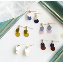 小巧糖果色搭配圓形設計耳環耳釘垂墜飾品