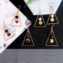 韓國金屬幾何圖形氣質木質墜飾文青耳環