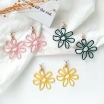 韓國縷空花朵白色珍珠造型耳環特色垂墜飾品