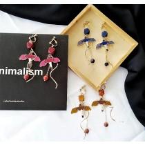 韓國金屬螺旋線條滴油海鷗造型耳環垂墜手作飾品