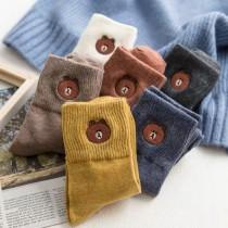 韓國直送秋冬保暖加厚板素色毛料熊熊深色學院風中筒襪