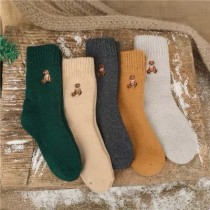 韓國直送泰迪熊刺繡加厚毛料中低筒襪聖誕禮物必備