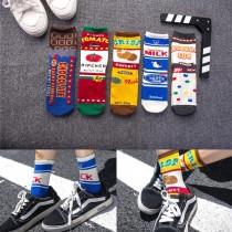 日本卡通可愛彩色百搭潮流中筒襪男襪女襪情侶襪