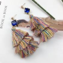 韓國彩色多層次流蘇長形耳環美艷造型氣質垂墜飾品