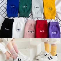 可愛韓文字素色薄款中低筒襪男襪女襪情侶襪