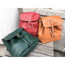 韓國新款復古學院風素款百搭抽繩雙肩背後背包三用包