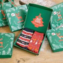 聖誕質感禮盒包裝老公公雪人中筒襪兩雙組