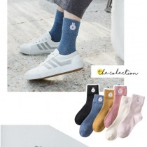 粉嫩色系可愛兔兔刺繡中筒襪保暖造型學院風長襪