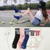 春夏熱賣百搭可愛運動風條紋數字造型中低筒襪短襪子