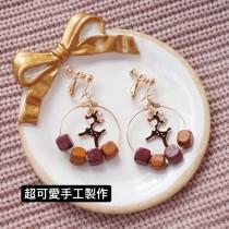 韓國系可愛小鹿斑比簍空圓形耳環同心圓木質設計垂墜耳環飾品