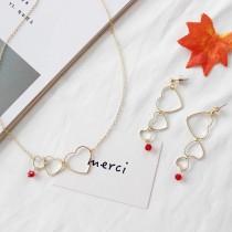 韓國金屬氣質縷空愛心短項鍊愛心縷空長型耳環
