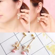 韓國旋轉木馬造型米白色可愛甜心耳環垂墜飾品珍珠手作耳環