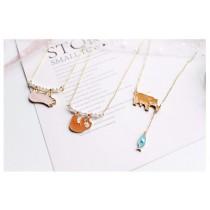 滴油顏色動物造型項鍊珍珠短項鍊可愛鎖骨項鍊