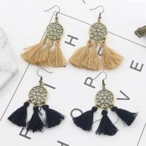 復古銅色系捕夢網設計流蘇耳環波西米亞風度假超仙氣飾品