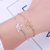 韓國金屬縷空紙鶴造型手鍊氣質簡約細款手鍊金屬簡約百搭手鍊手環