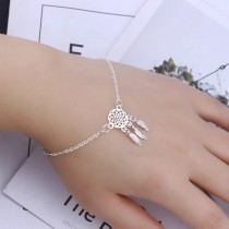 韓國簡約小巧精緻銀色捕夢網造型手鍊細款手鍊