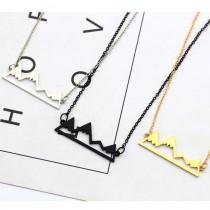 手工設計文青小山造型短項鍊韓國氣質金屬鎖骨鍊