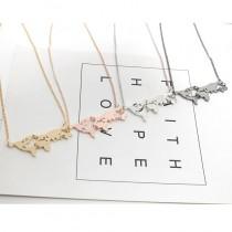 手作文青歐亞大陸地圖造型短鍊設計金屬鎖骨鍊