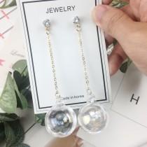 韓國簡約百搭氣質玻璃球水晶球長形吊墜式耳環夾式耳環