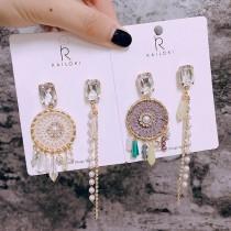 韓國氣質兩邊不對稱華麗金屬寶石捕夢網珍珠鑽鑽長形耳環