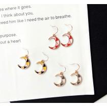 韓國精緻滴油撞色幾何圖形月亮造型耳環垂掛飾品