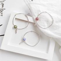 韓國粉嫩寶石氣質銀色超細彈性手鍊鬆緊手環