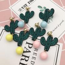 韓國東大門仙人掌刺繡布貼耳環時尚個性可愛甜美設計款創意耳環