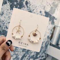 韓國氣質幾何圖形海星貝殼浪漫垂墜耳環圓形縷空耳環