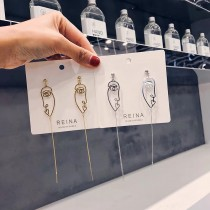 韓國金屬人臉線條輪廓設計款長形耳環氣質修飾垂墜飾品