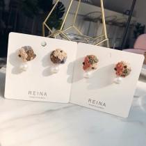 小巧精緻立體繡球花造型珍珠耳釘耳環貼耳造型耳環