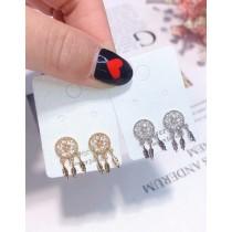 韓國簡約精緻小巧氣質日韓系鑽鑽流蘇捕夢網造型耳釘耳環