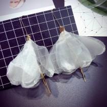 韓國仙氣長形透明蕾絲花朵造型耳環沙灘度假風耳環