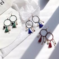 韓國氣質簡約星星珍珠流蘇幾何圓形耳環波西米亞風格飾品
