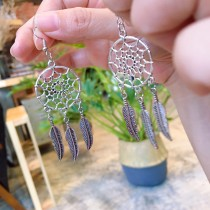 氣質金屬簡約捕夢網耳環金銀色系垂掛飾品